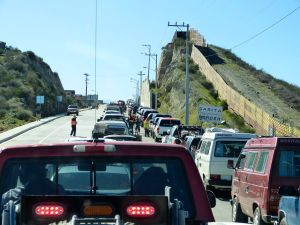 In line at Tecate border crossing